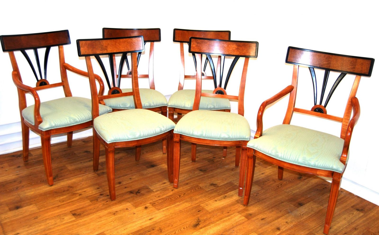 Six Biedermeier Style Dining Chairs
