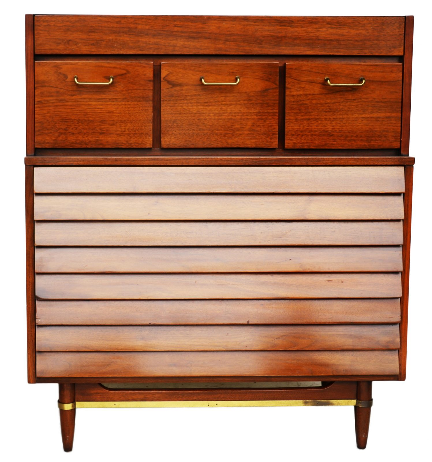 Mid Century Modern Split Level 1956 Edition Better Homes: American Martinsville High Boy Walnut Dresser Chest Mid