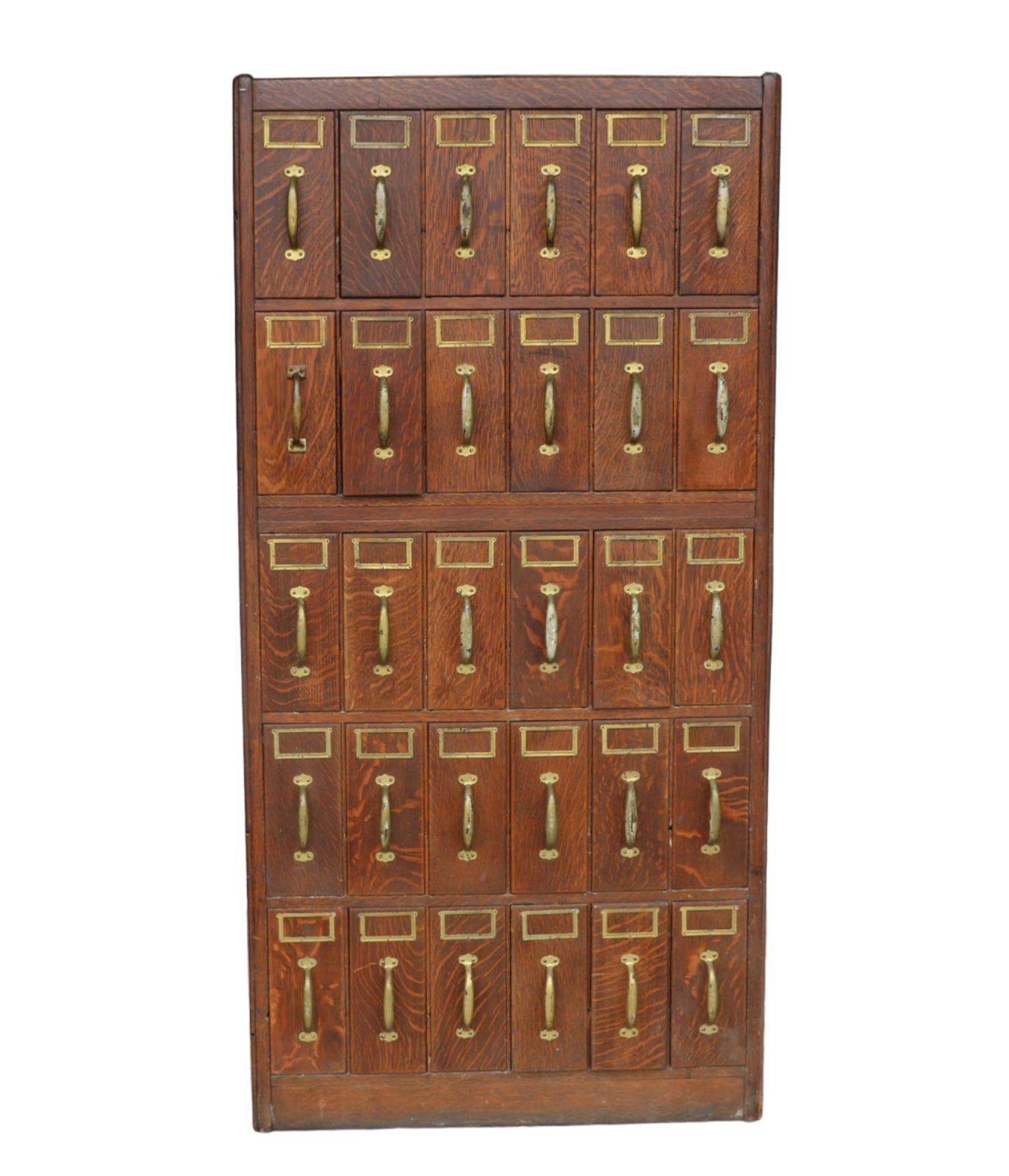Antique Dark Oak Five Tier Billing Cabinet