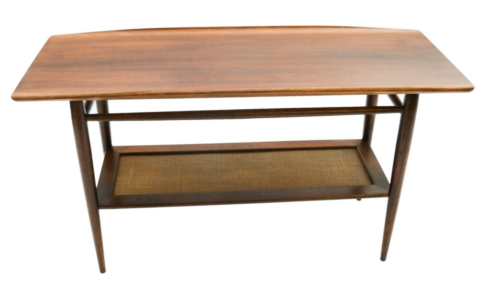 Beautiful Mid Century Modern Walnut Bassett Two Tier Console sofa