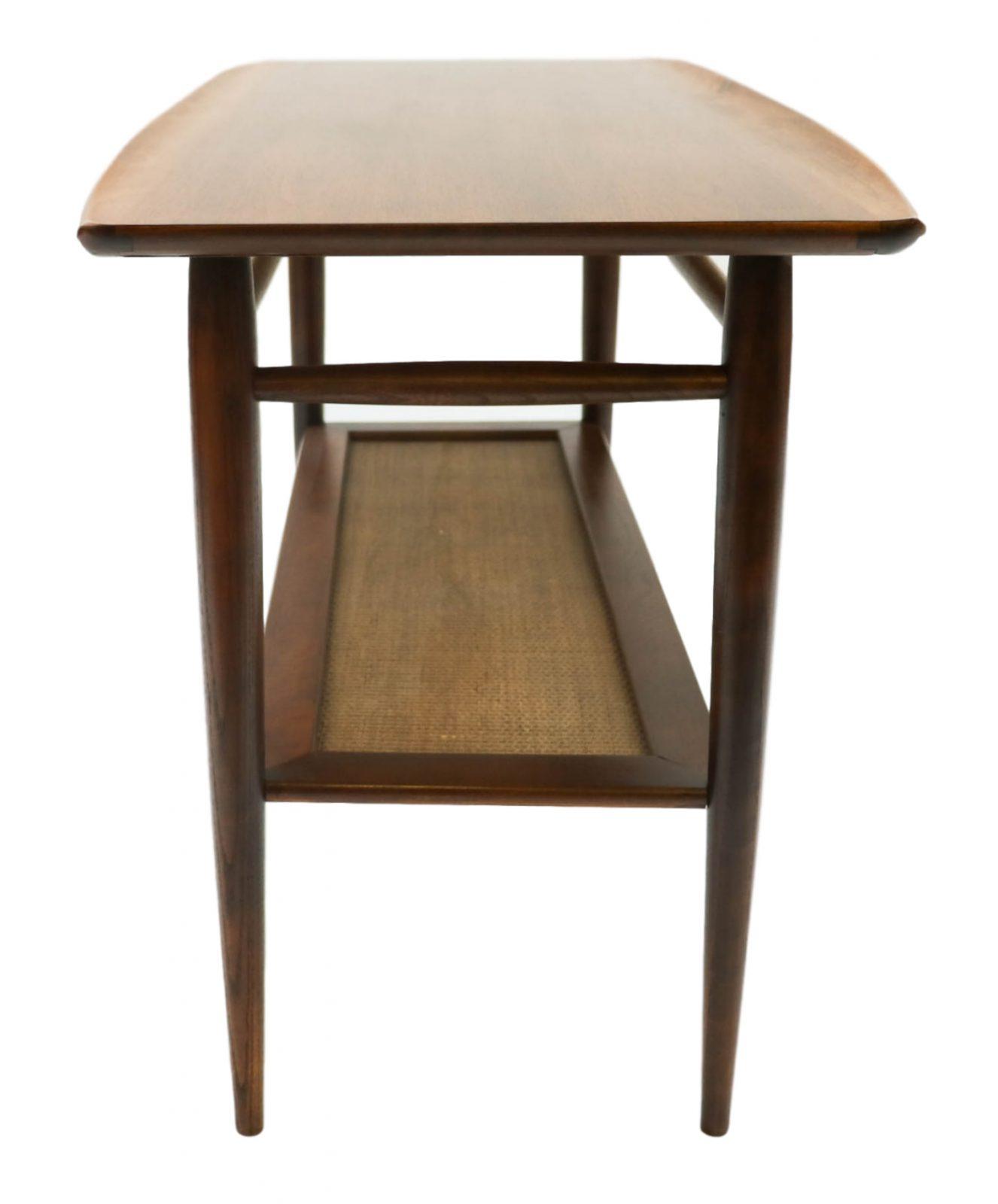 Beautiful mid century modern walnut bassett two tier for Sofa table modern
