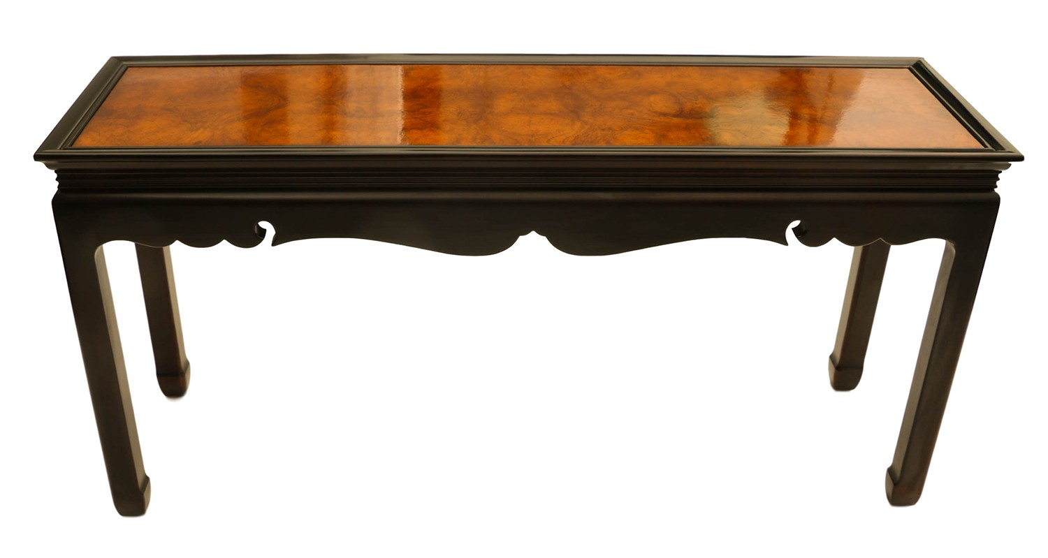 Burlwood console table asian oriental for Table orientale