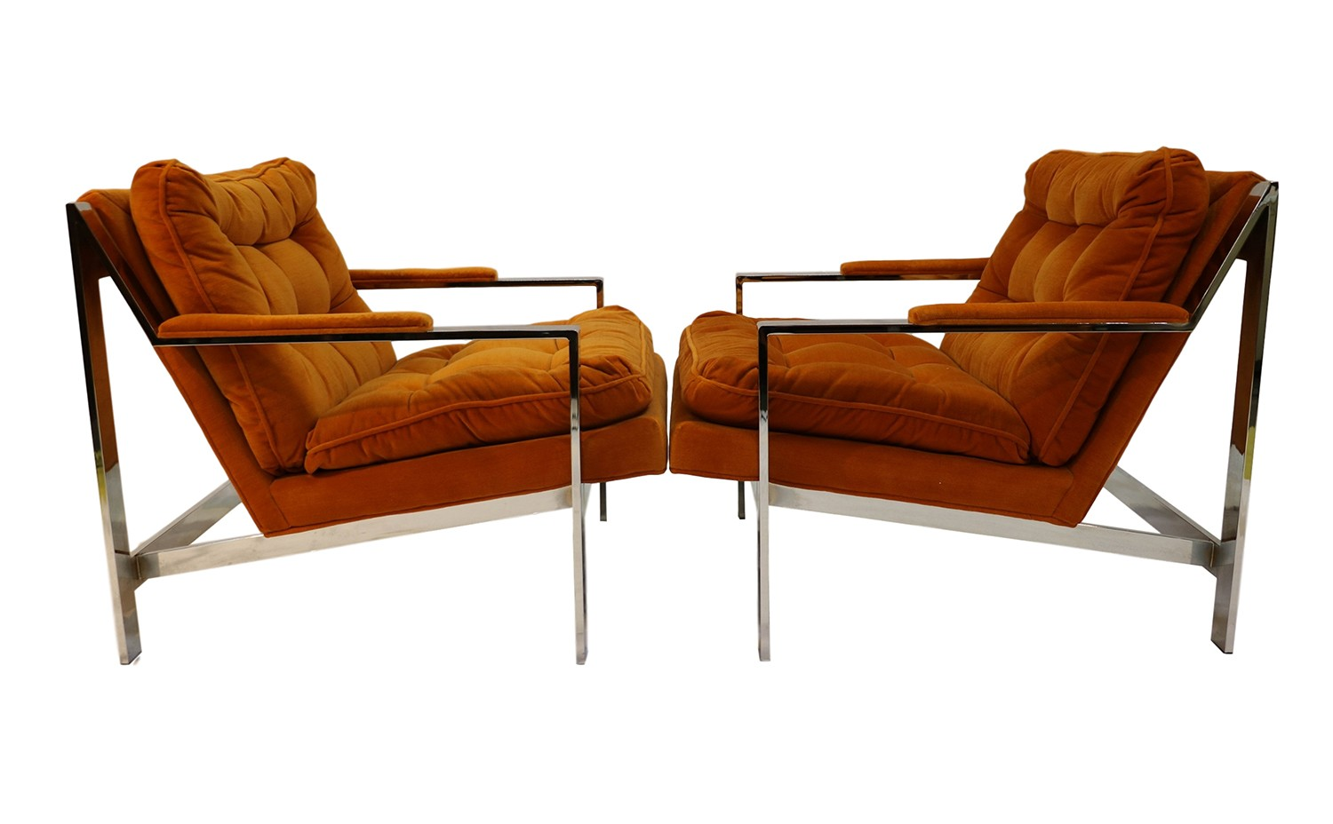Cy Mann Chrome Lounge Chairs Milo Baughman Style Pair