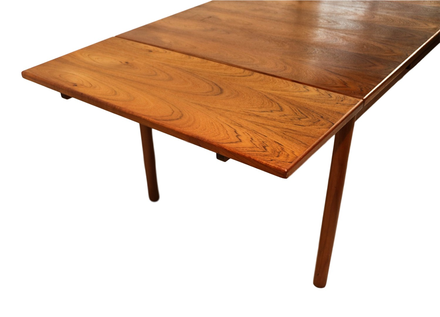 Danish modern teak extendable dining table for Extension dining table