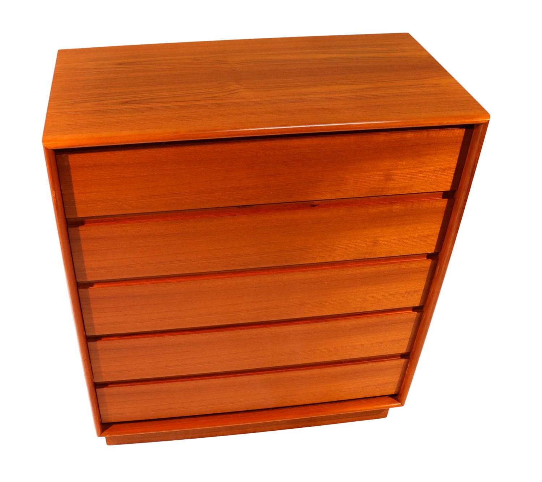 Danish modern teak tall slim dresser chest