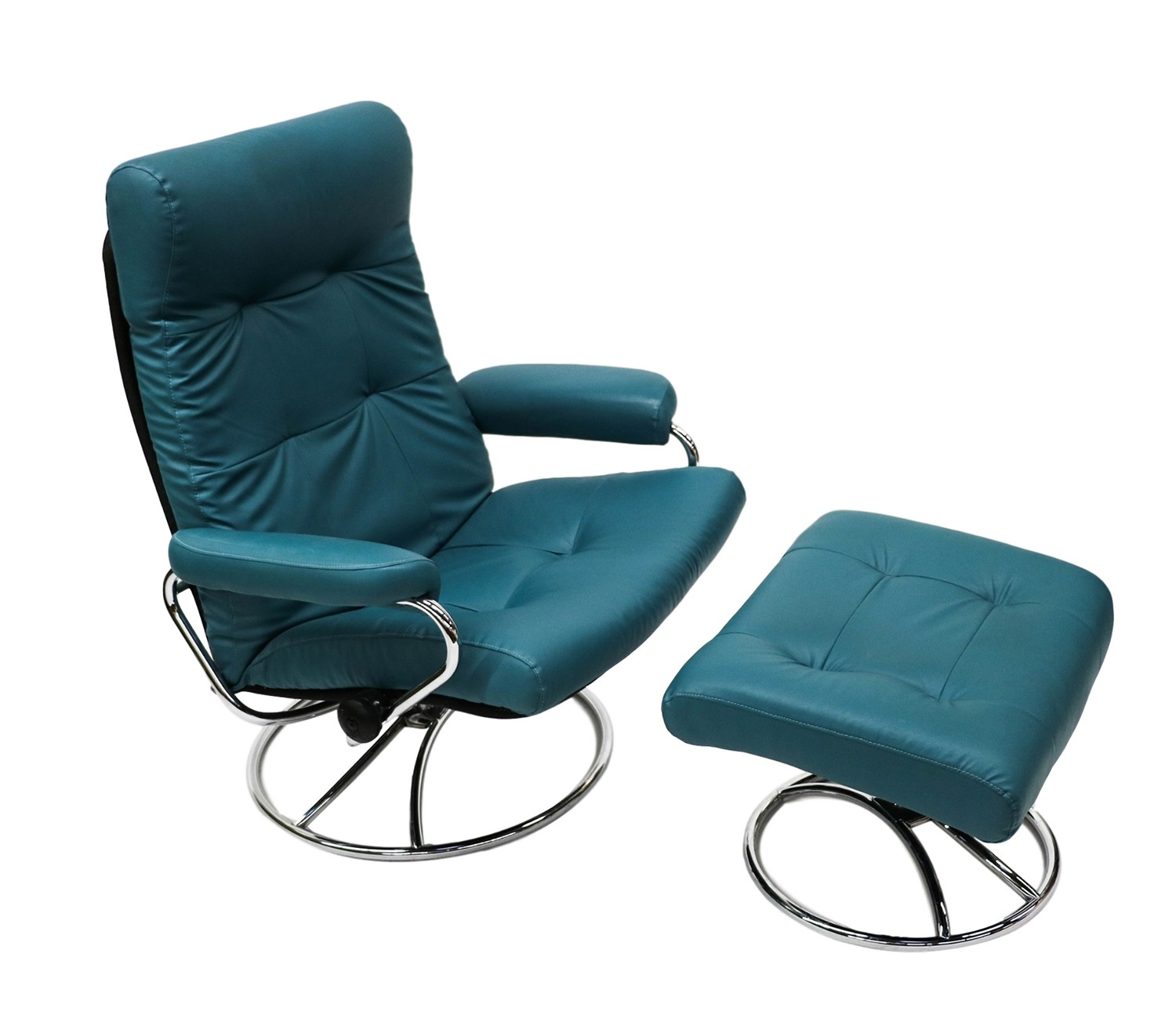 Ekornes Scandinavian Mid Century Reclining Lounge Chair and Ottoman