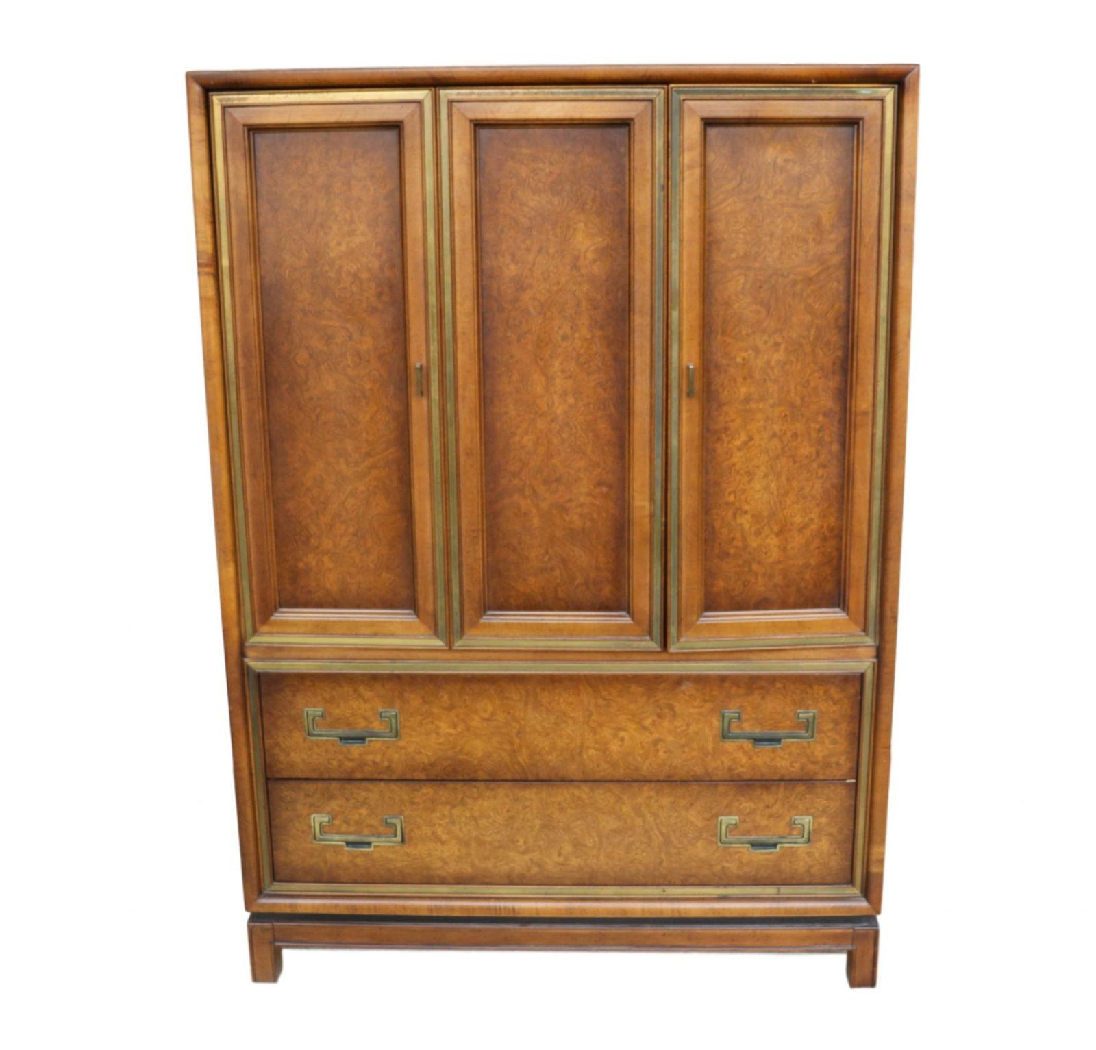 Elegant Founders Mid-Century Burl Wood Highboy Dresser Chest