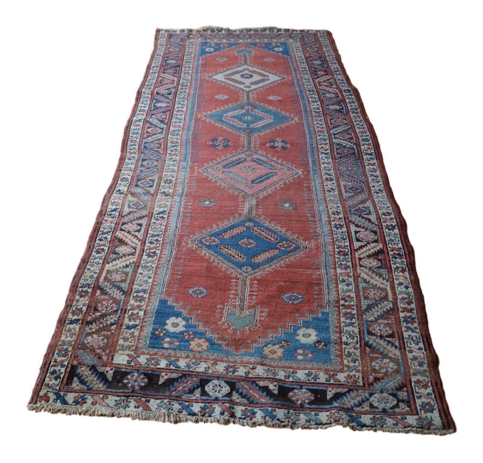 Vintage Persian Heriz Design Wool Area Rug: Fine Authentic Antique Heriz Persian Rug Runner