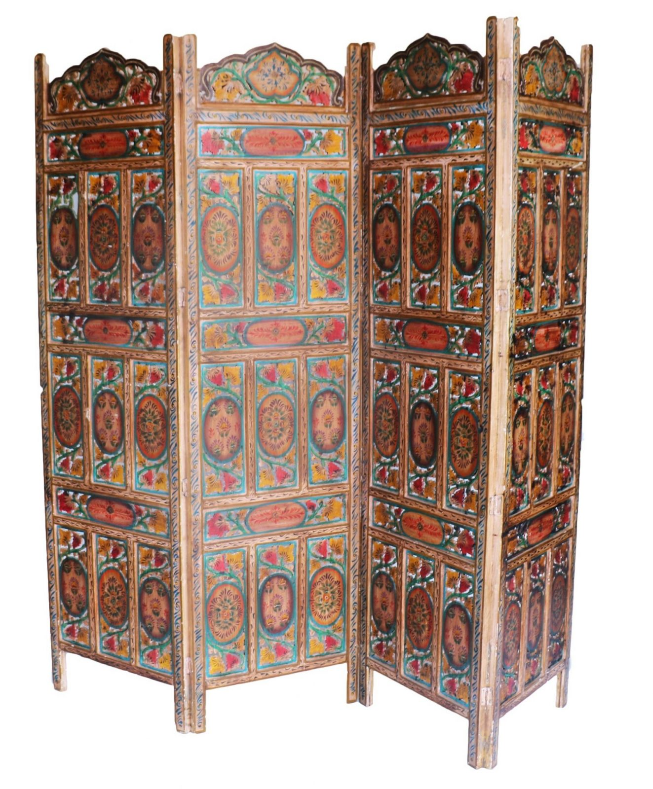 Carved Wood Screens ~ Four panel hand carved indian screen room divider