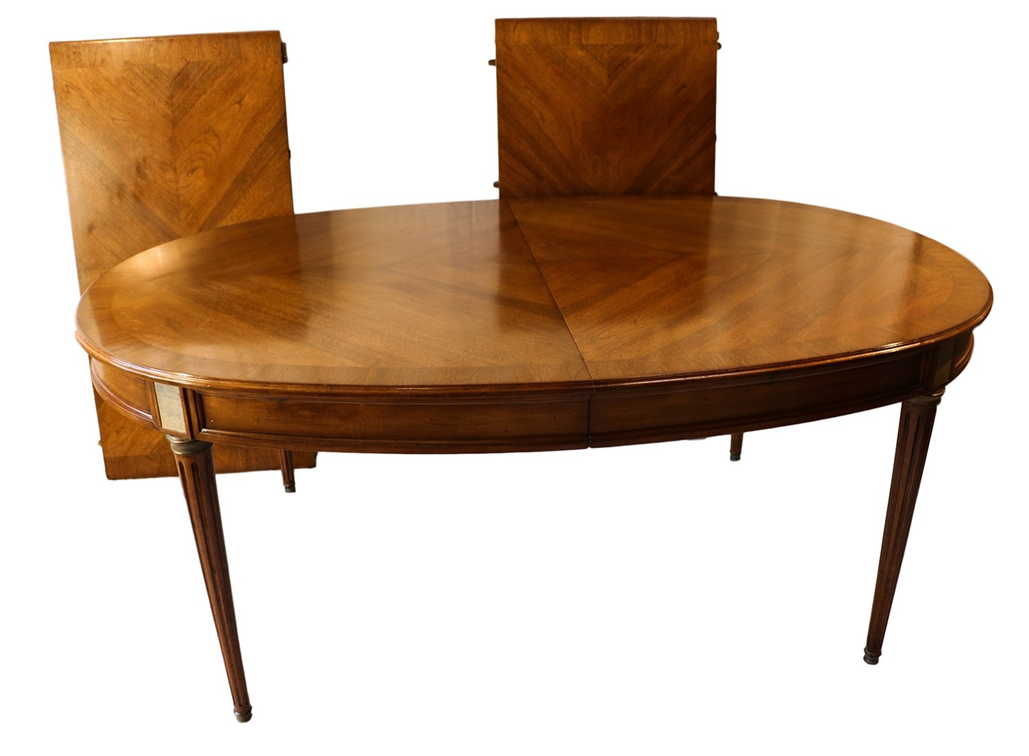 French directoire style oval walnut extending dining room for Dining room extendable table