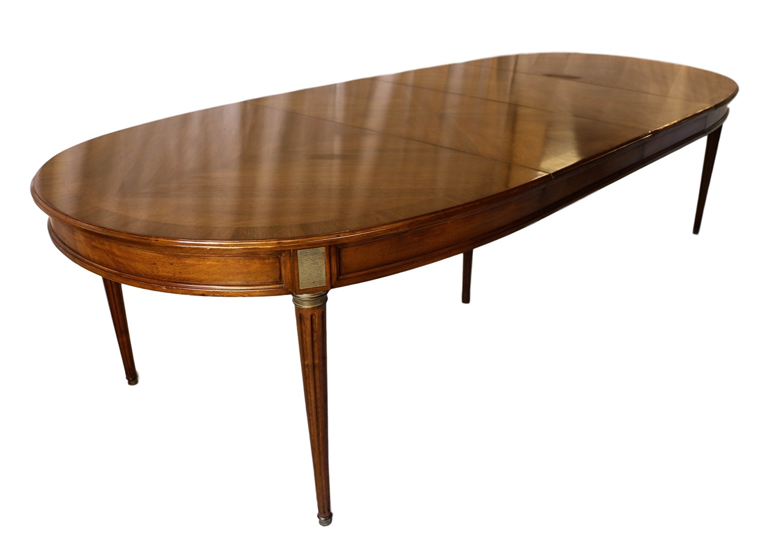 French directoire style oval walnut extending dining room for Oval dining room table