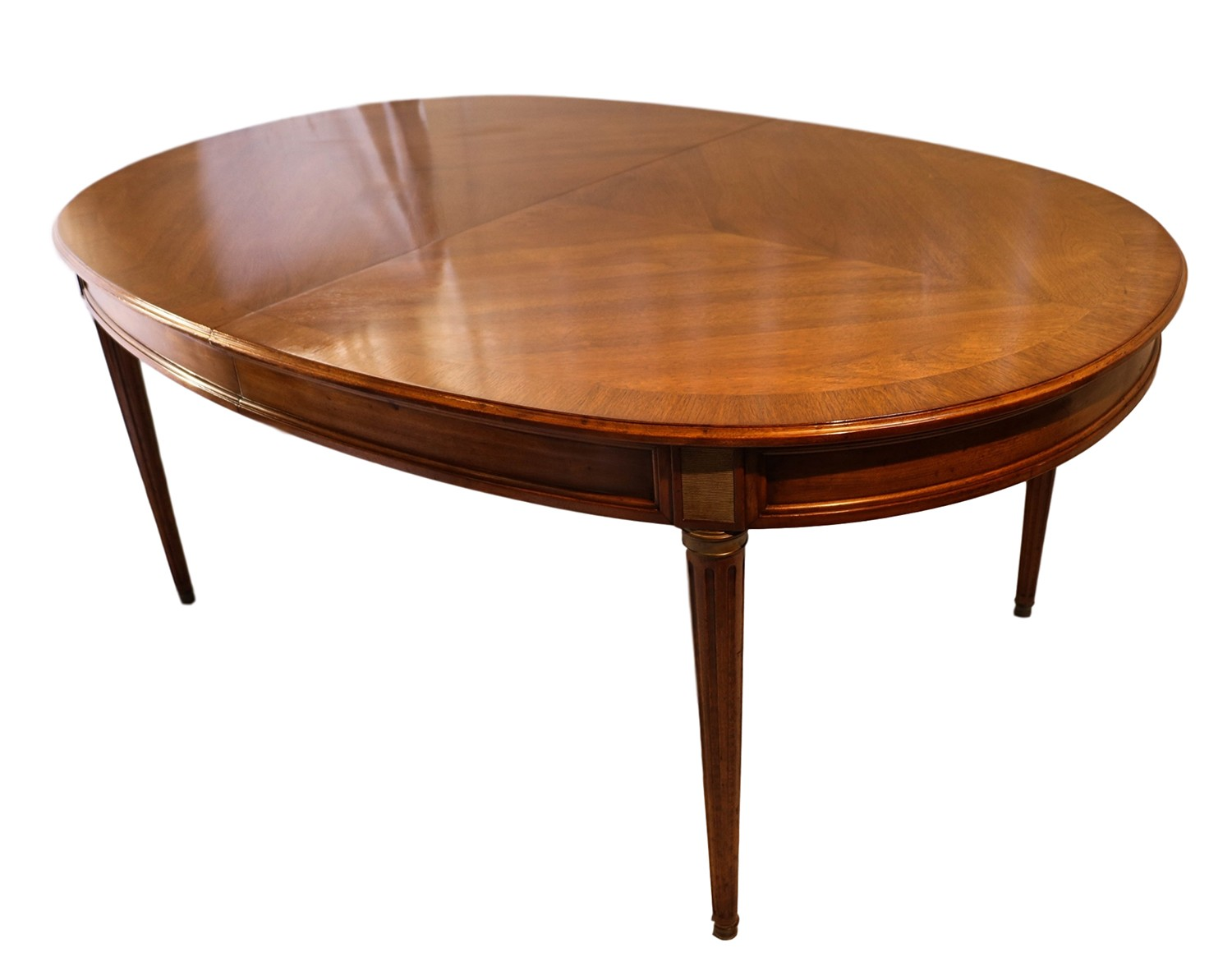 French directoire style oval walnut extending dining room Oval dining table