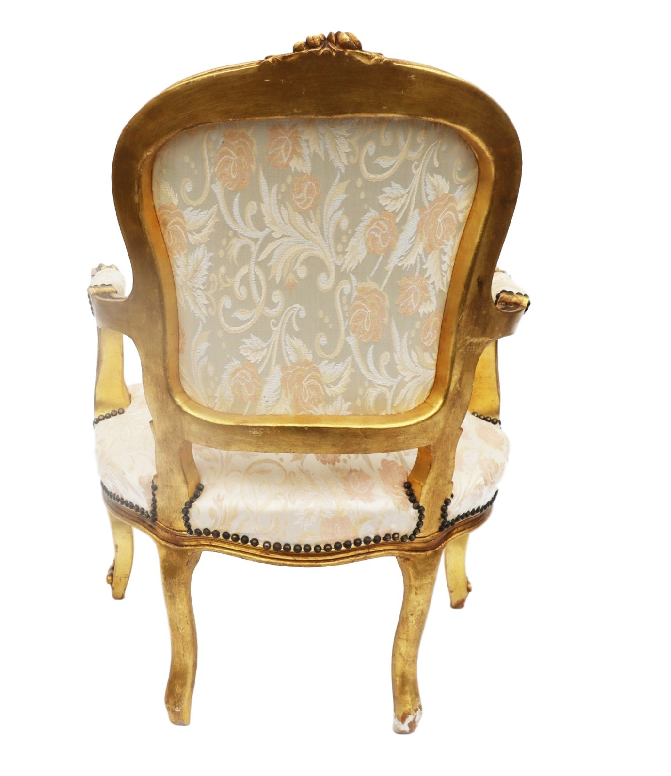 Antique upholstered chair styles - French Louis Xv Style Carved Gilt Wood Fauteuil Arm Chair 20th Century