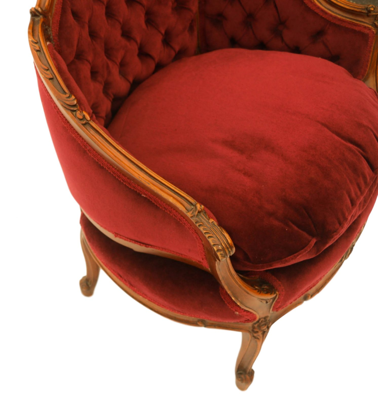 French Louis Xv Style Carved Walnut Upholstered Arm Chair