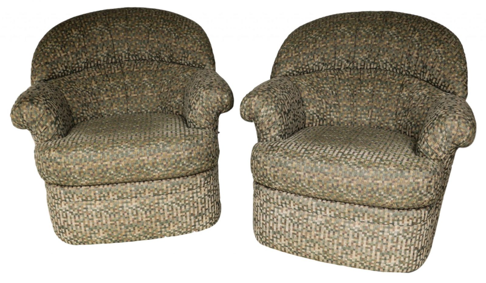 Super Gorgeous Pair Mid Century Modern Swivel Lounge Chairs Barrel Theyellowbook Wood Chair Design Ideas Theyellowbookinfo