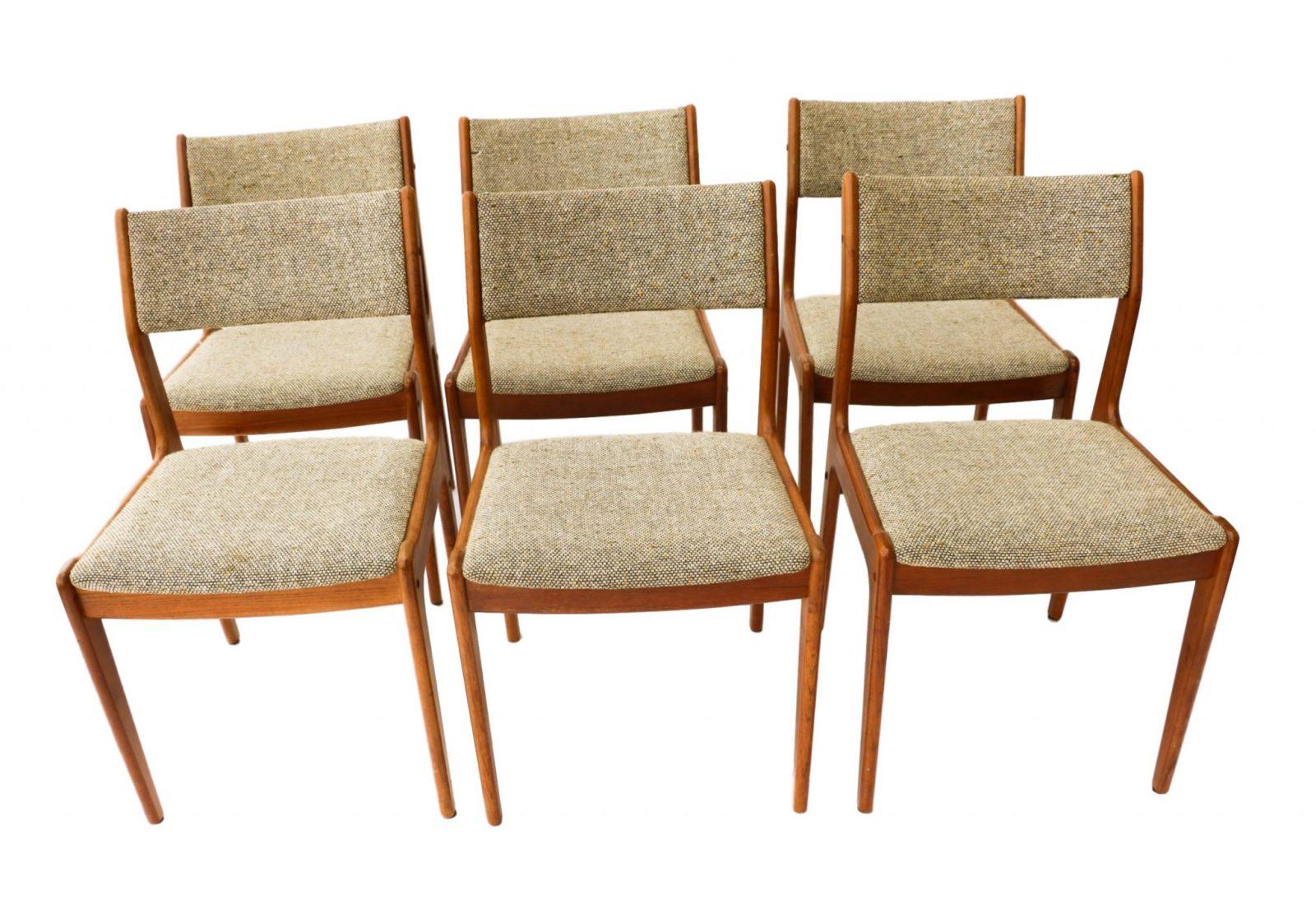 Gorgeous teak scandinavia danish modern dining chairs six - Scandinavian teak dining room furniture design ...