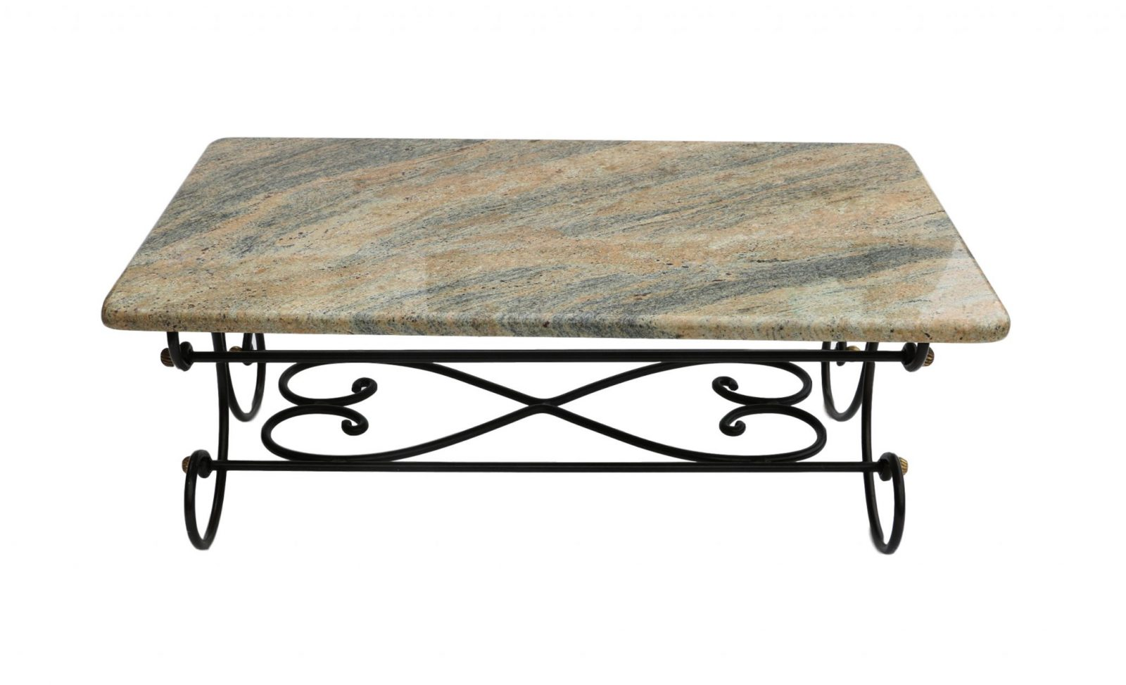 Granite topped coffee table wrought iron metal base for Metal coffee table with stone top