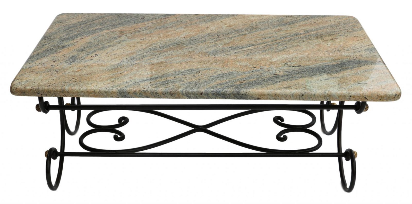 ... Granite Topped Coffee Table Wrought Iron Metal Base. 🔍
