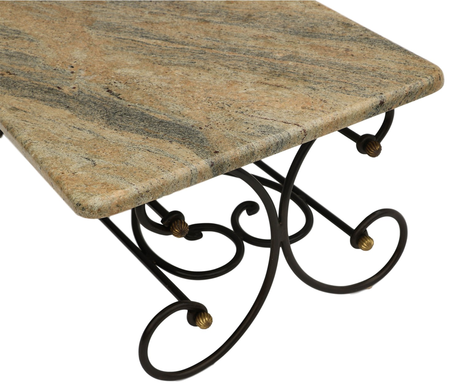Wrought Aluminum Coffee Table: Granite Topped Coffee Table Wrought Iron Metal Base