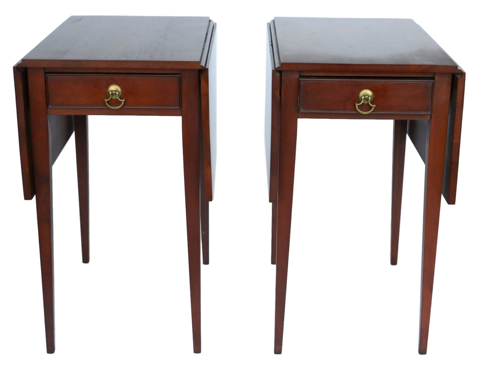 Henkel Harris Mahogany Drop Leaf Pembroke Side End Table Pair