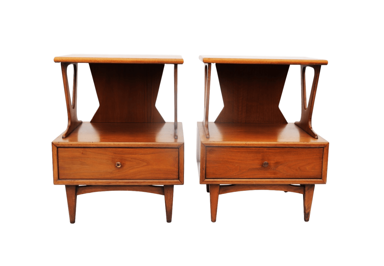 Kent Coffey Two Tier Sculptural Nightstands Side Tables