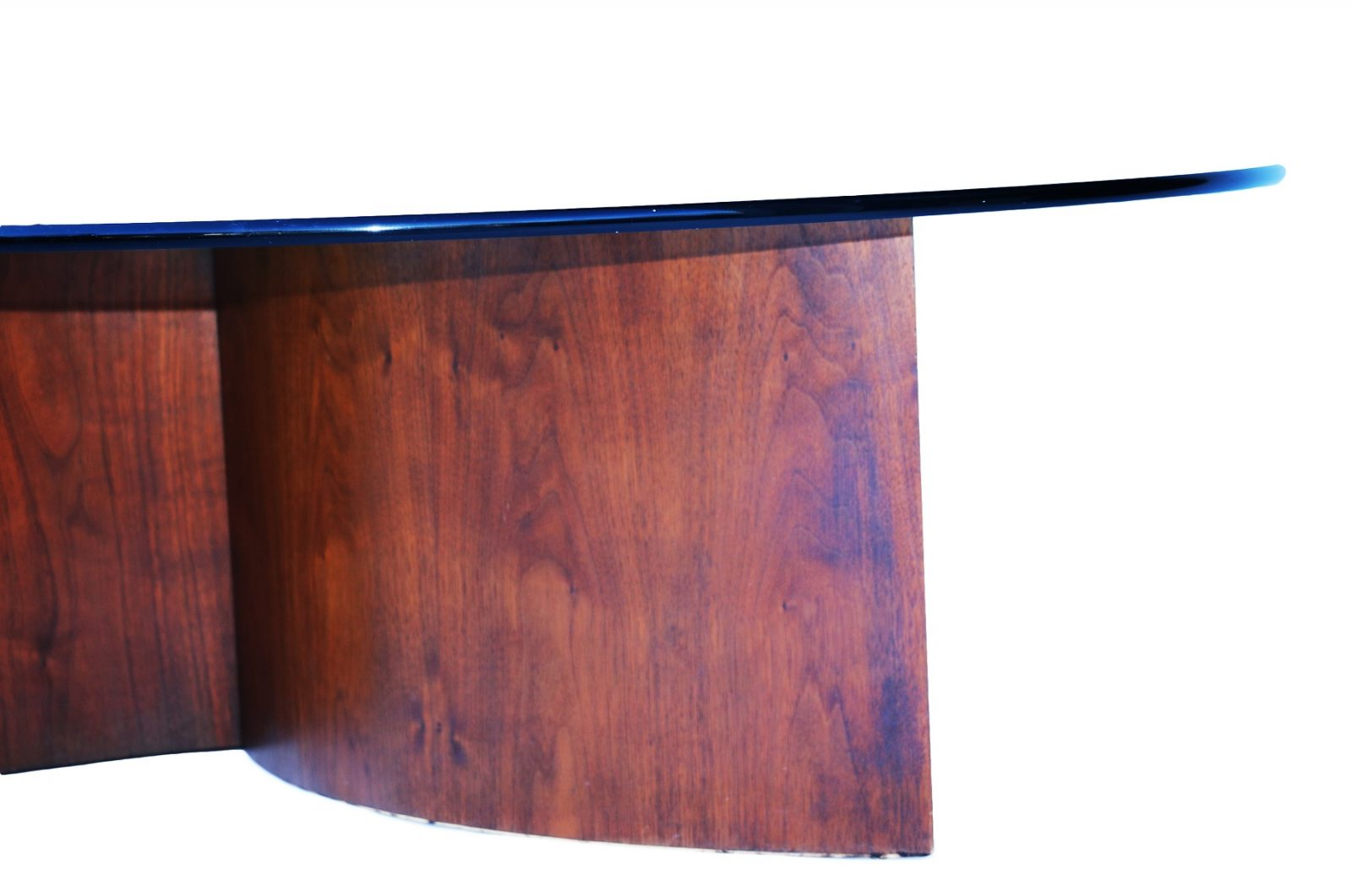 Lane Mid Century glass and walnut propeller base Coffee Table