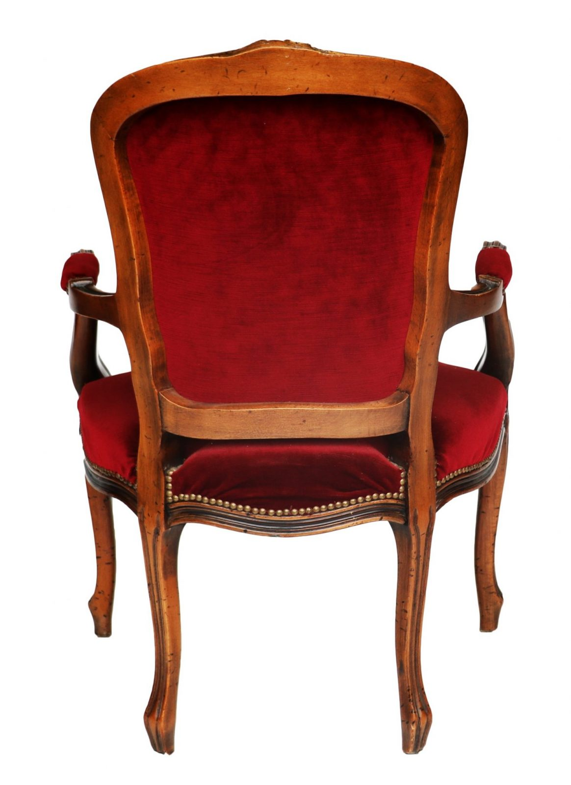 French Louis Xv Style Walnut And Upholstered Fauteuil