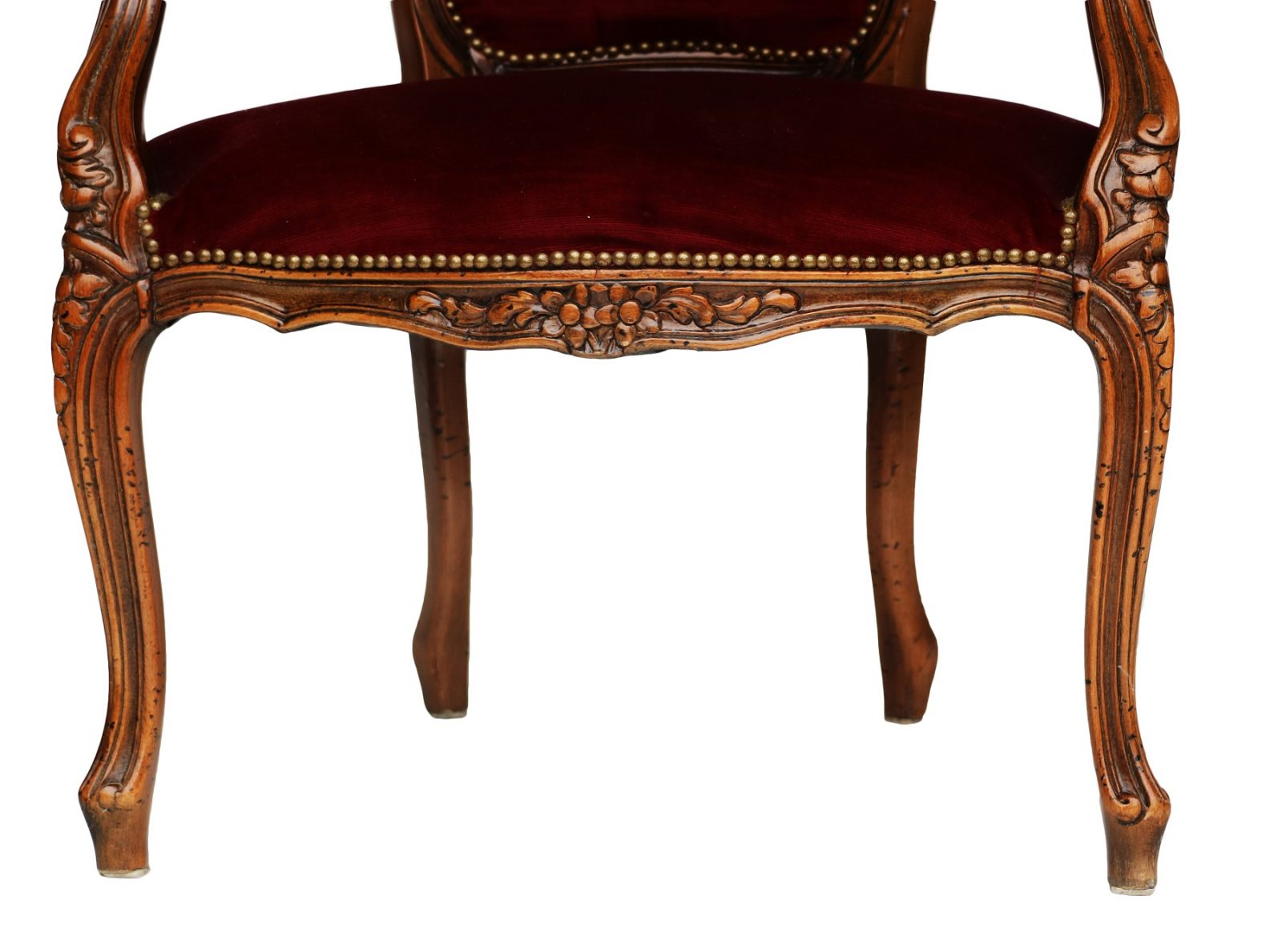 louis xv style walnut and upholstered fauteuil armchair