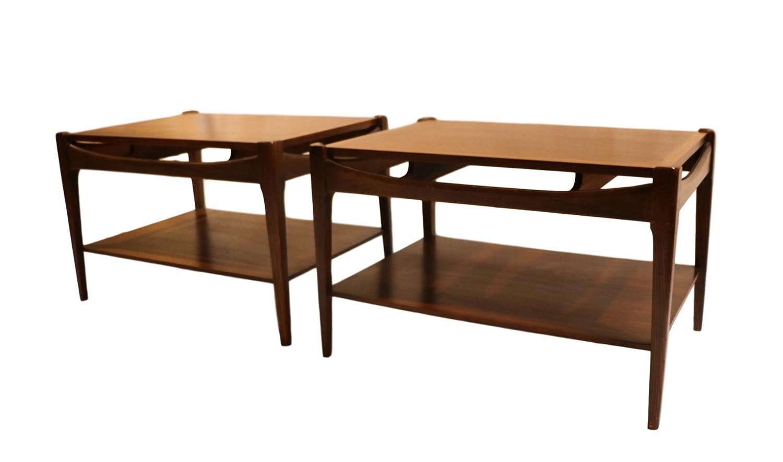 Mid Century Bassett Danish Inspired Walnut Side Tables |
