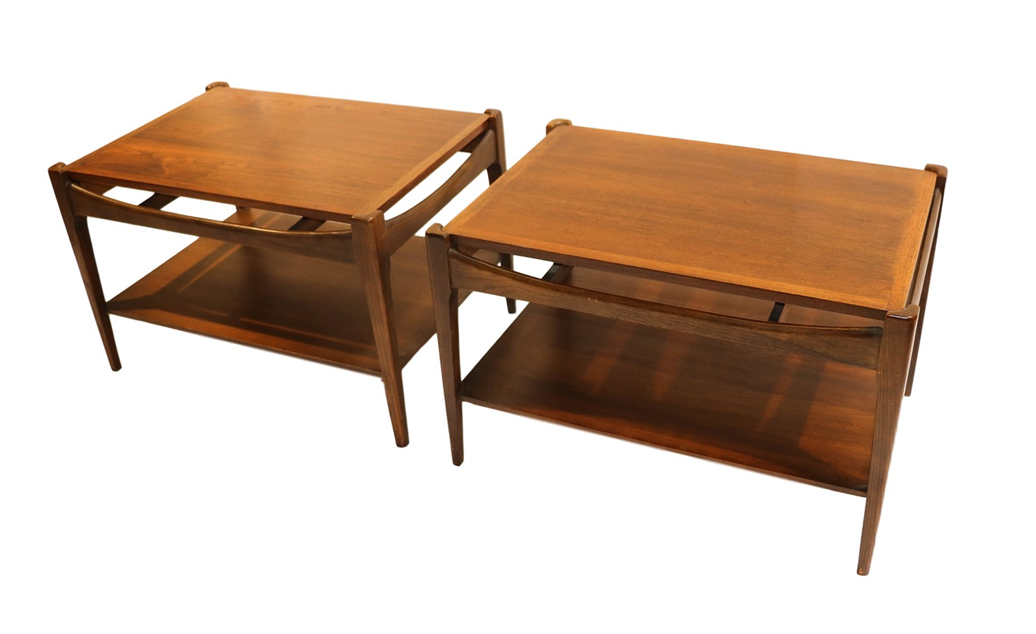 Mid Century Bassett Danish Inspired Walnut Side Tables