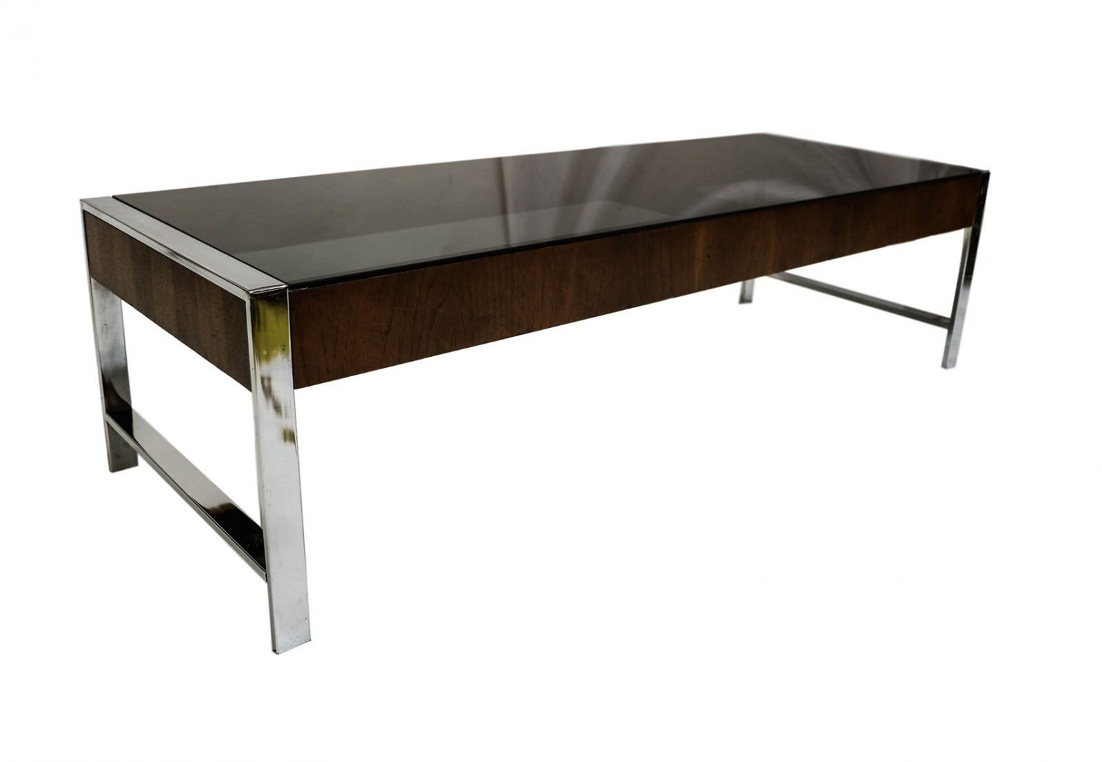 Mid century chrome smoked glass coffee table milo baughman style Mid century coffee tables