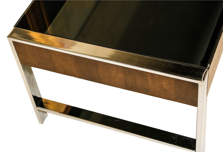 Mid Century Chrome Smoked Glass Coffee Table Milo Baughman Style