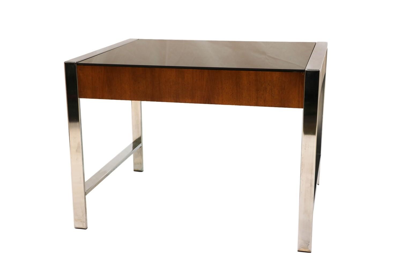 Mid Century Chrome Smoked Glass Side Table Milo Baughman