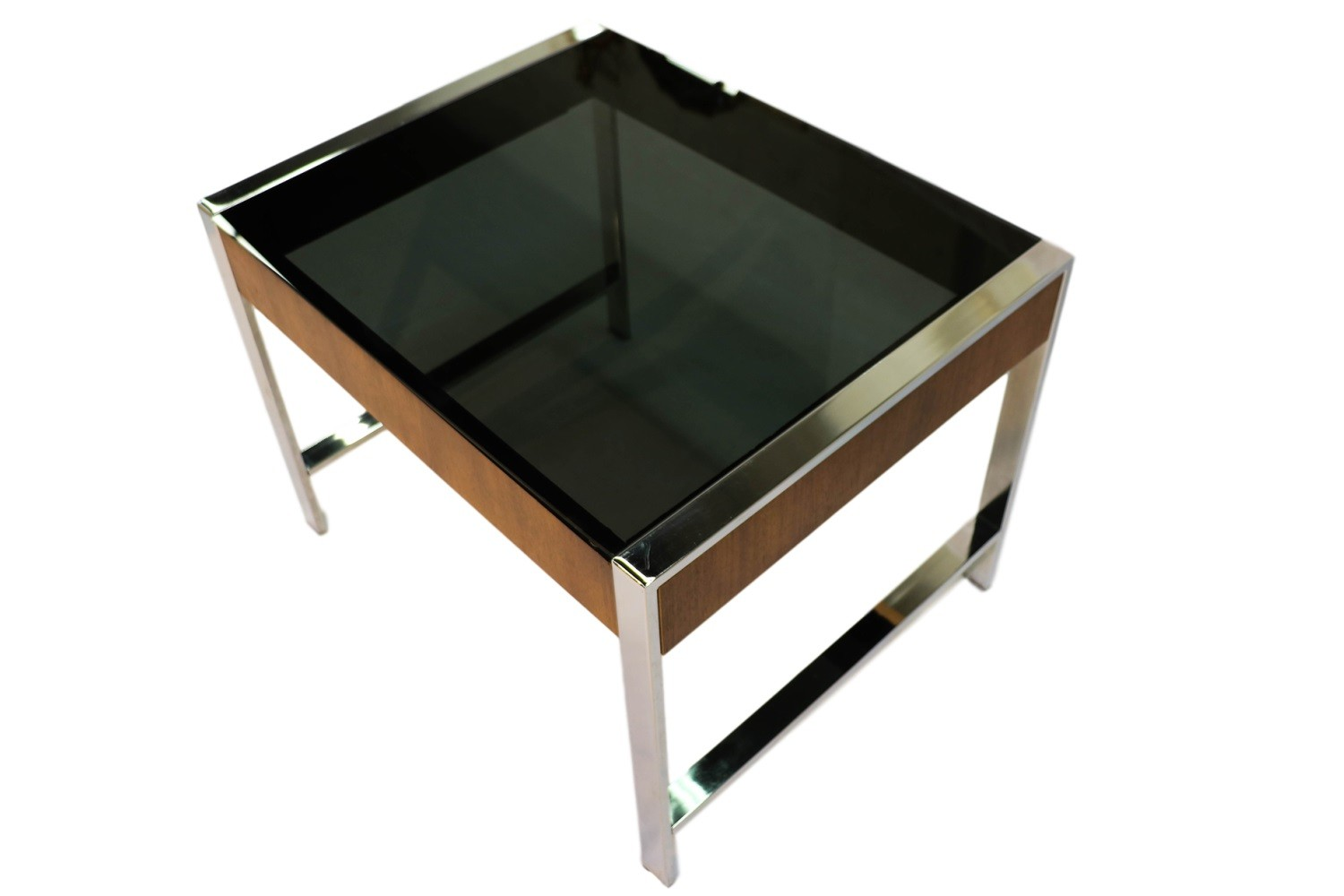 Mid Century Chrome Smoked Glass Side Table Milo Baughman Style