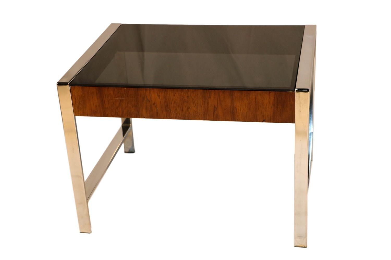 Make A Modern Side Table: Mid Century Chrome Smoked Glass Side Table Milo Baughman