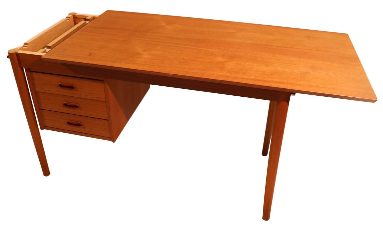 Mid Century Danish Teak Drop Leaf Desk Arne Vodder Denmark