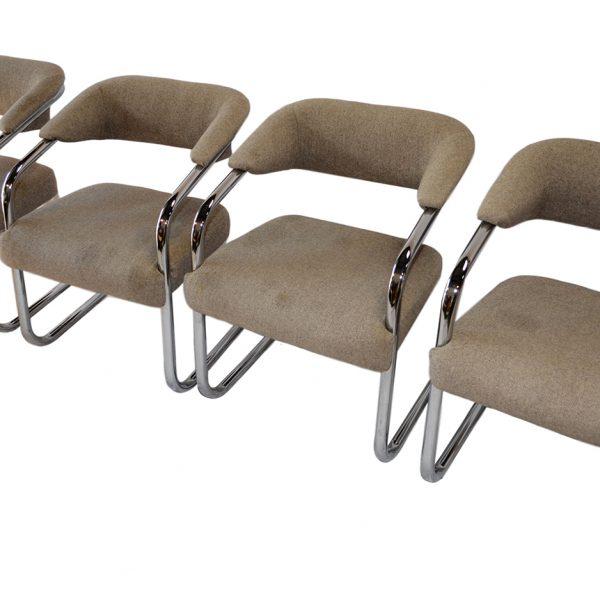 Mid Century Dining Set Four Saarinen Style Chairs Circular Table