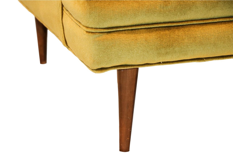 Mid Century Green Velvet Lounge Chair