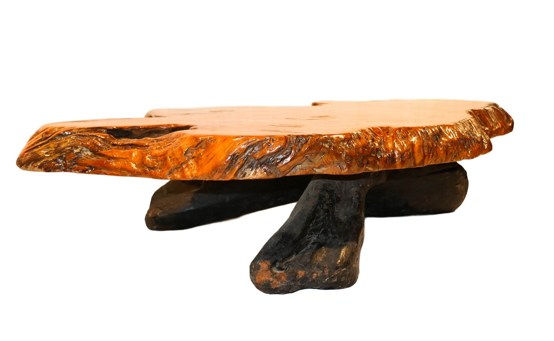 Picture of: Mid Century Live Edge Wood Tree Slab Coffee Table