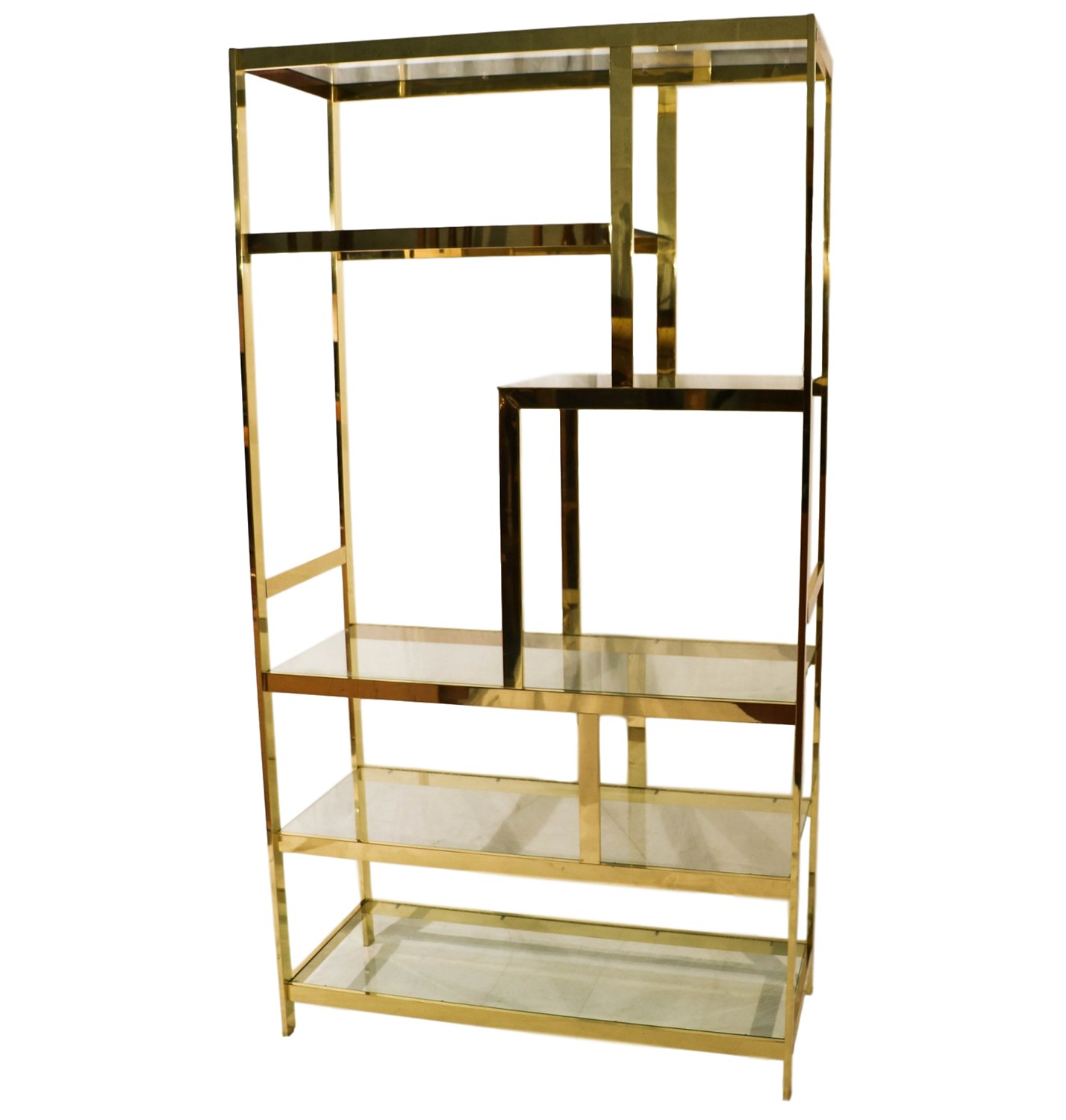 mid century milo baughman brass glass etagere. Black Bedroom Furniture Sets. Home Design Ideas