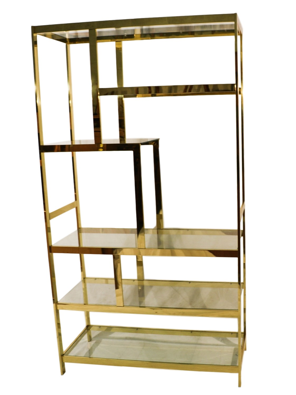 Mid Century Milo Baughman Brass Glass Etagere