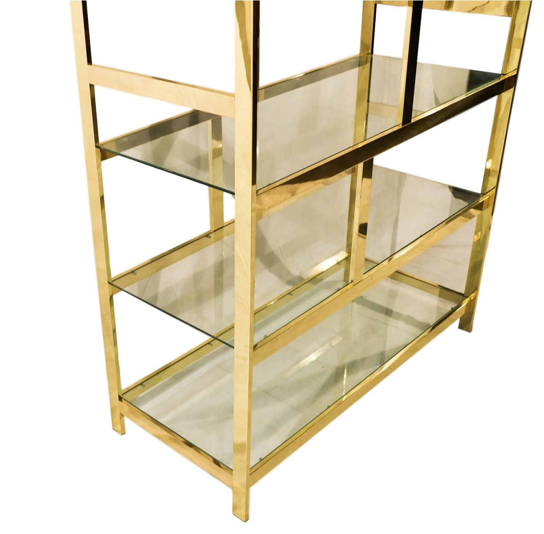 Mid Century Milo Baughman Brass Glass Etagere -