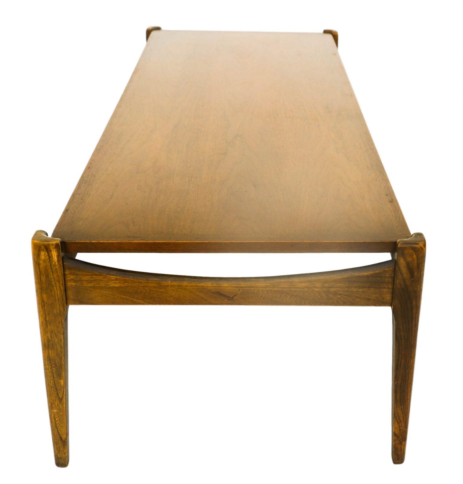 Bassett Walnut Surfboard Coffee Table: Mid-Century Modern Bassett Walnut Coffee Table