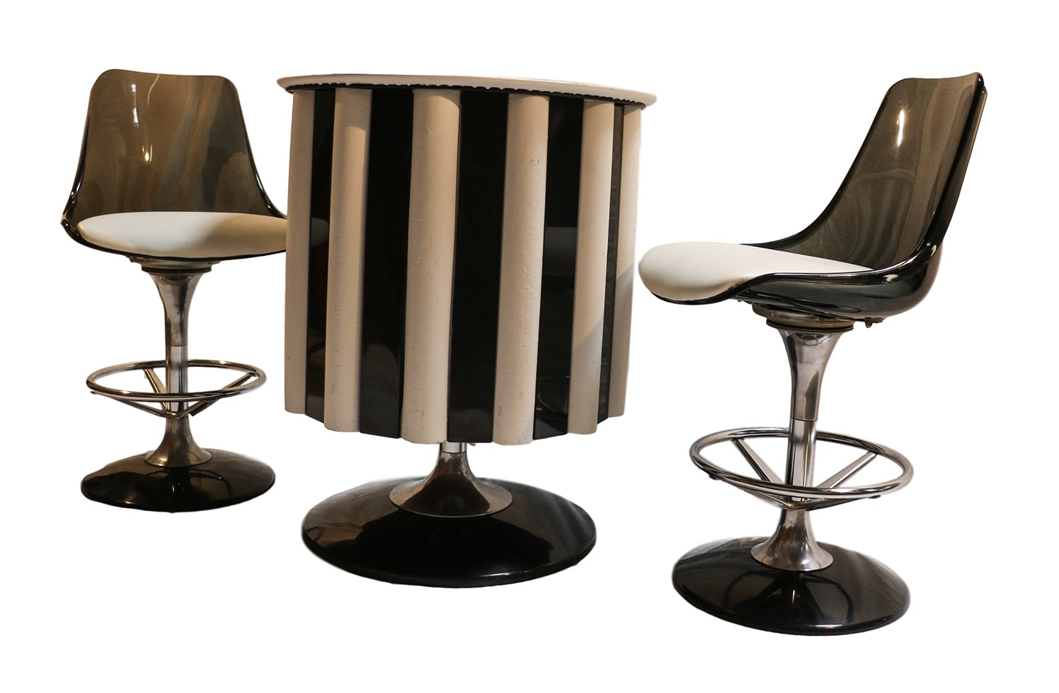 Mid century modern chromcraft bar set table chairs stools for Modern bar tables and chairs