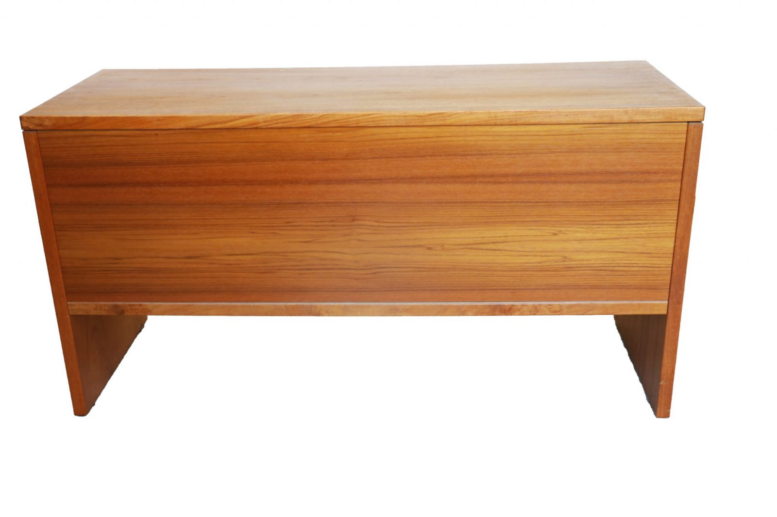Mid century modern danish teak office credenza finished back for Mid century modern danish furniture