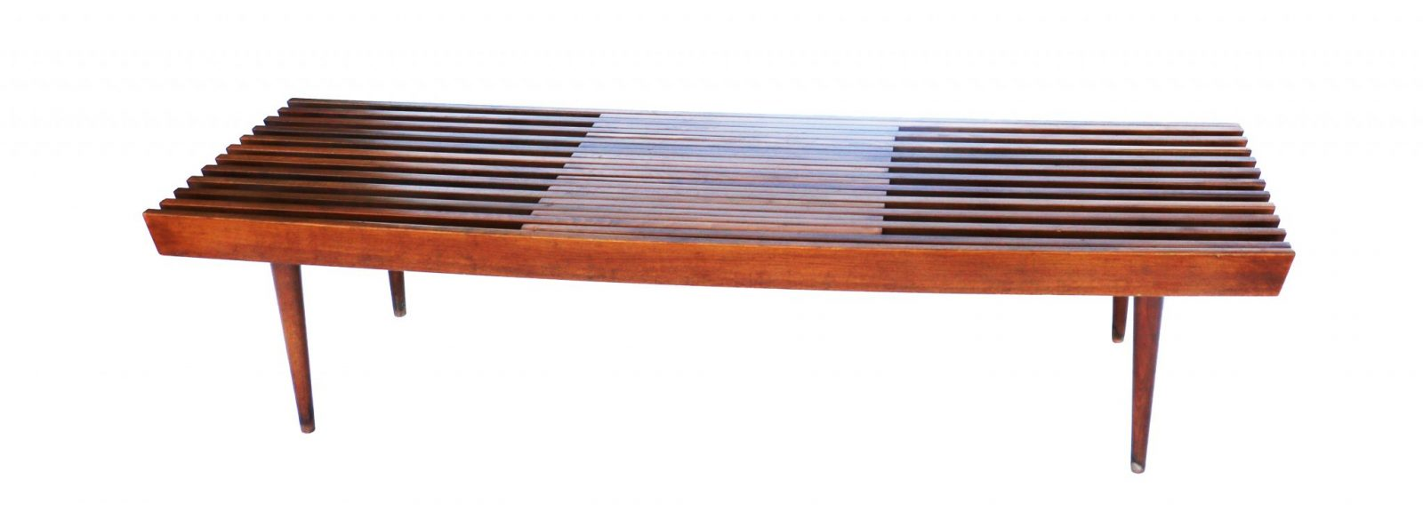 Mid Century Modern Danish Expandable Slat Bench Wood Coffee Table