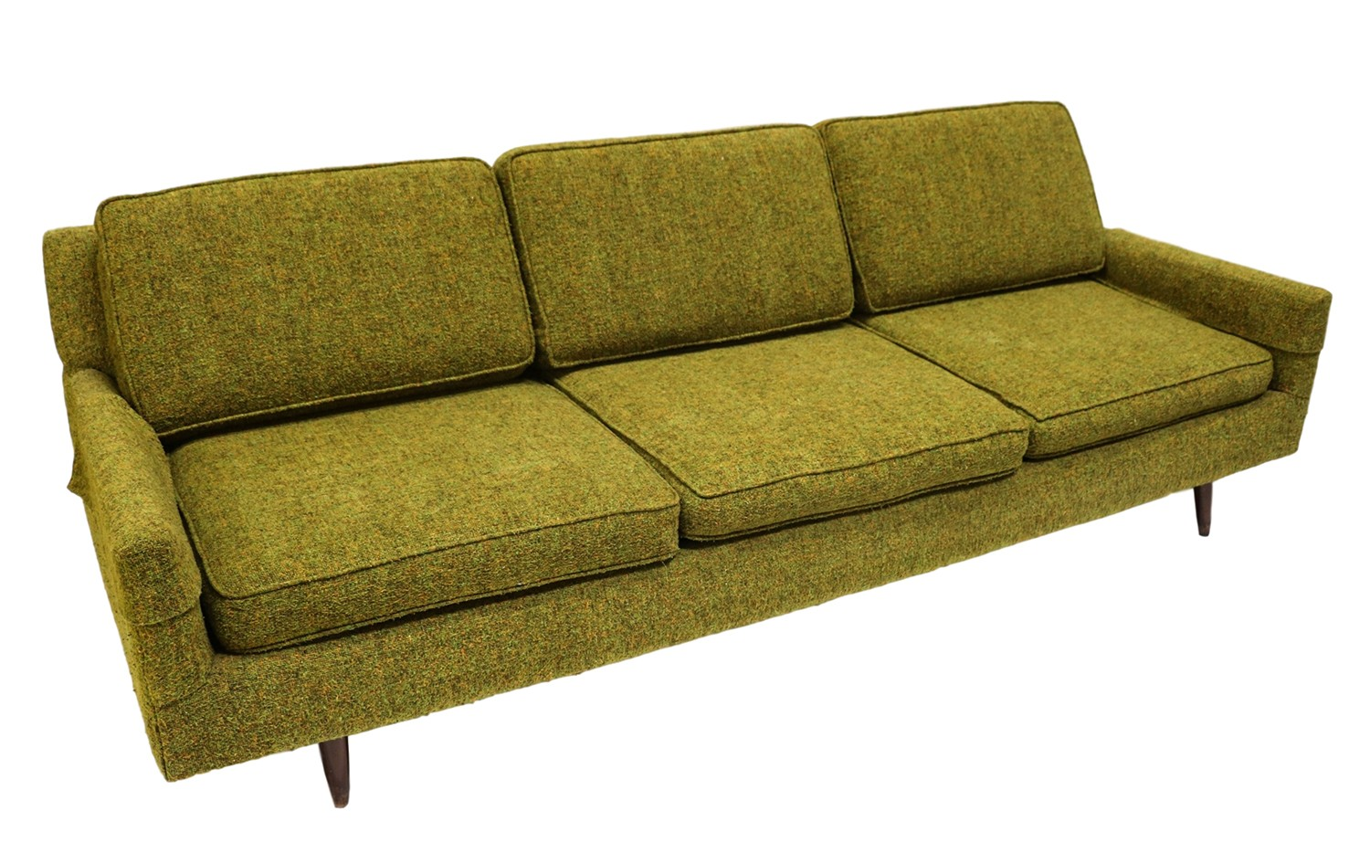 mid century modern green upholstered sofa. Black Bedroom Furniture Sets. Home Design Ideas