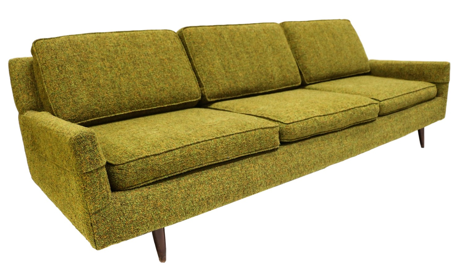 Mid century modern green upholstered sofa for Mid century modern upholstered chair