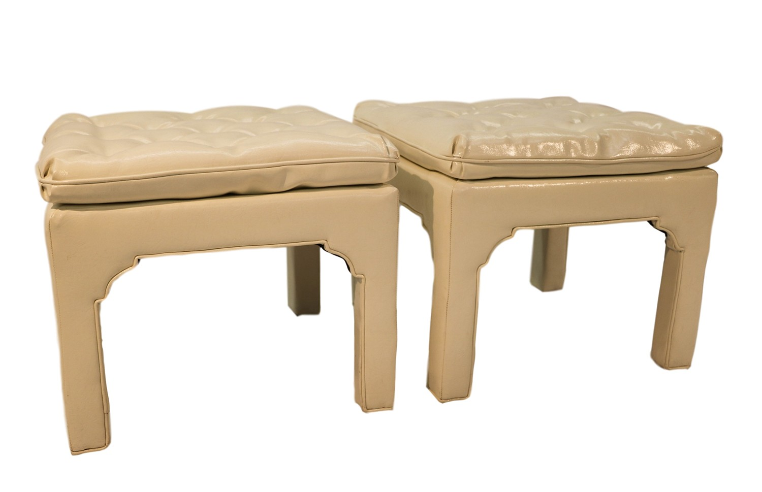 Mid Century Modern Milo Baughman Parsons Style Tufted Benches