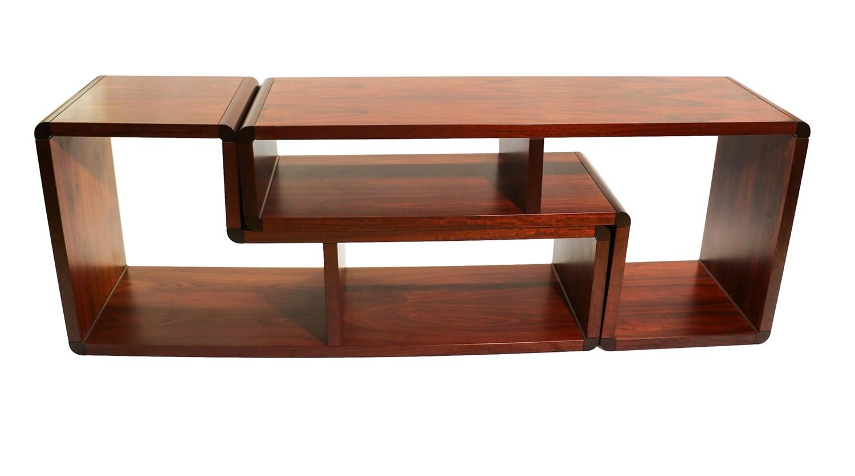 mid century modern rosewood veneered bookcase pair -